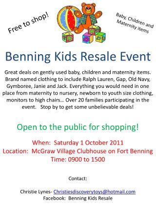 Benning Kids Resale Event