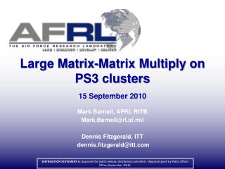 Large Matrix-Matrix Multiply on PS3 clusters