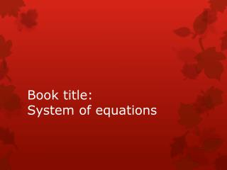 Book title: System of equations