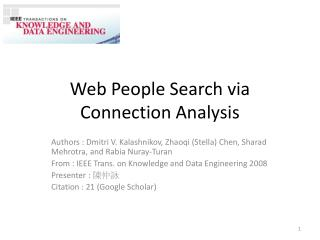 Web People Search via Connection Analysis