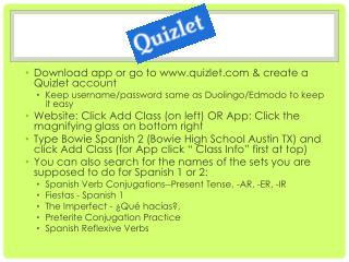 Download app or go to www.quizlet.com & create a  Quizlet  account