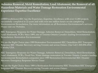 Asbestos Removal, Mold Remediation, Lead Abatement, the Remo