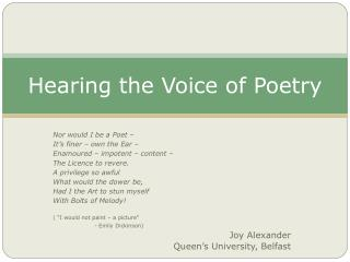 Hearing the Voice of Poetry