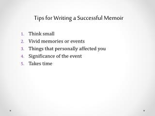 Tips for Writing a Successful Memoir