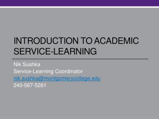 Introduction to academic service-learning
