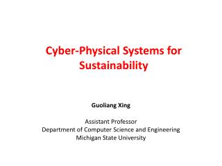 Cyber-Physical Systems for Sustainability