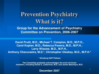 Prevention Psychiatry What is it?