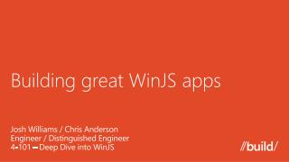 Building great WinJS apps