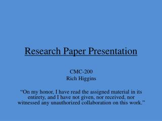 Research Paper Presentation