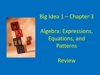 Big Idea 1 – Chapter 3 Algebra: Expressions, Equations, and Patterns Review