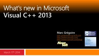 What's new in  Microsoft Visual  C++ 2013