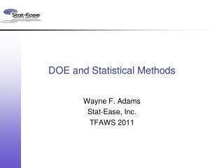 DOE and Statistical Methods