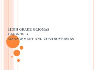 High grade gliomas  diagnosis  management and controversies