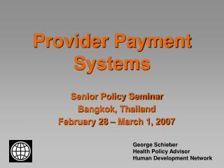 Provider Payment Systems