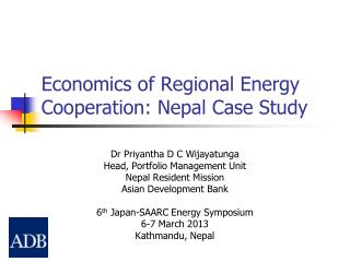 Economics of Regional Energy Cooperation: Nepal Case Study