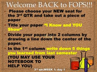Welcome BACK to FOPS!!!