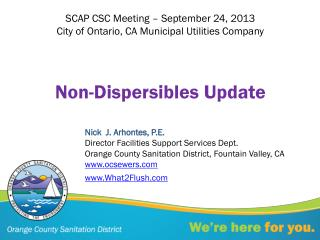 Non- Dispersibles  Update