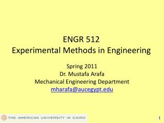 ENGR 512 Experimental Methods in Engineering