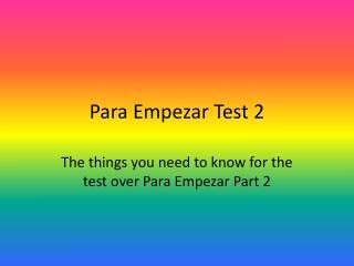 Para Empezar Test 2