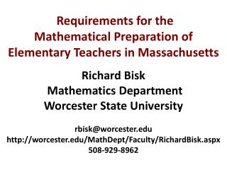 Requirements  for the Mathematical Preparation of Elementary Teachers in Massachusetts