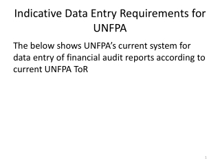 Indicative Data Entry Requirements for UNFPA
