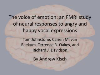 The voice of emotion: an FMRI study of neural responses to angry and happy vocal expressions