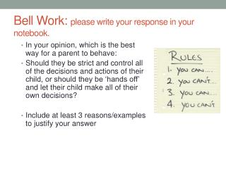 Bell Work:  please write your response in your notebook.