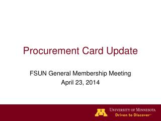 Procurement Card Update