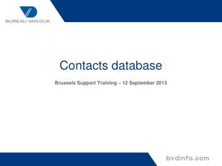 Contacts database Brussels Support Training – 12 September 2013