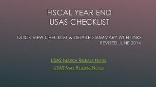 USAS March Release Notes USAS May Release Notes