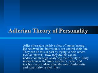 Adlerian Theory of Personality