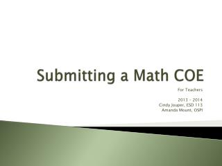 Submitting a Math COE