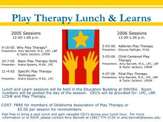 Play Therapy Lunch & Learns
