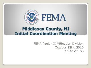 Middlesex County, NJ  Initial Coordination Meeting