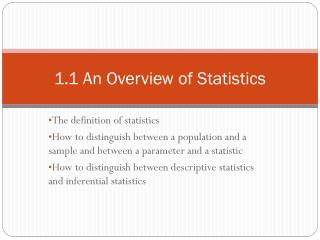 1.1 An Overview of Statistics