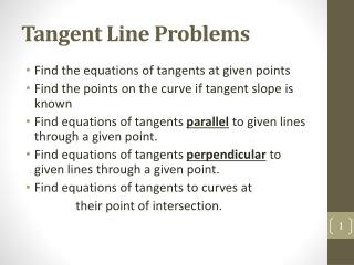 Tangent Line Problems