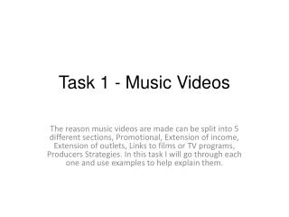T ask 1 - Music Videos
