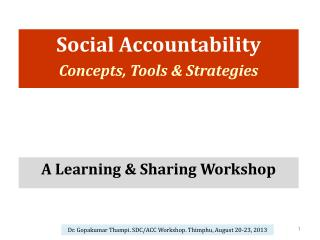 Social Accountability Concepts, Tools & Strategies