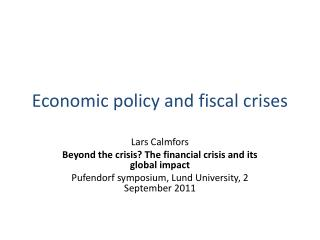 Economic policy and fiscal crises