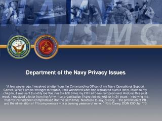 Department of the Navy Privacy Issues