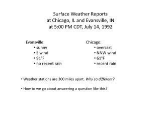 Surface Weather Reports at Chicago, IL and Evansville, IN at 5:00 PM CDT, July 14, 1992
