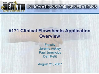 171 Clinical Flowsheets Application Overview