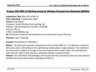 Project : IEEE P802.15 Working Group for Wireless Personal Area Networks (WPANs)