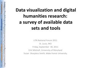 Data visualization and digital humanities research:   a survey of available data sets and tools