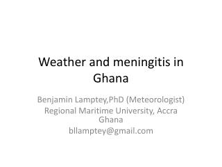 Weather and meningitis in Ghana