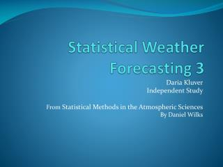 Statistical Weather Forecasting  3