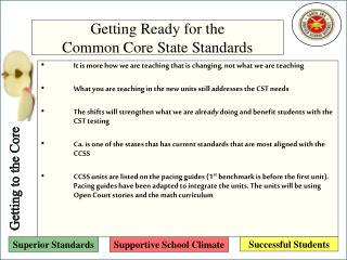 Getting Ready for the  Common Core State Standards