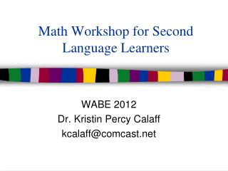 Math Workshop for Second Language Learners