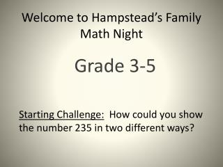 Welcome to Hampstead's Family Math Night