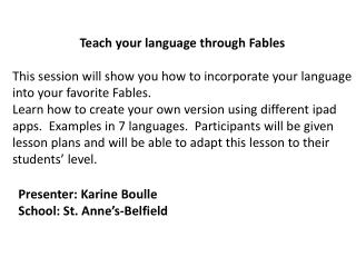 Teach your language through  Fables